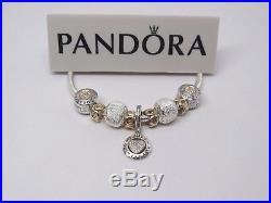 Pandora 2 Tone Gold & Silver Custom Signature Charm Bracelet with GIFT SET SIZES