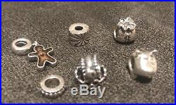 Pandora ALE 925 Sterling Silver 21 Retired Charms Beautiful Bracelet Lot Set