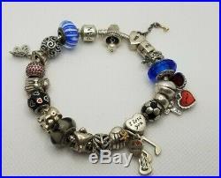 Pandora Bracelet 20 Authentic Charms ALE 925 Sterling Silver Size 7.5 14k Gold