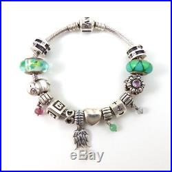 Pandora LOADED Charm Bracelet With 14 Pandora Charms QXE15
