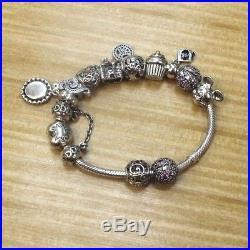Pandora Silver Bracelet With 12 Charms