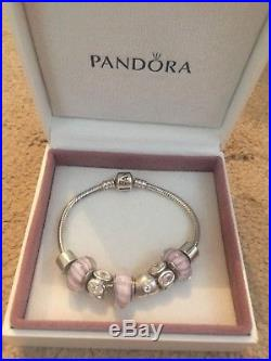 Pandora Silver Charm Bracelet With 6 Charms And 2 Clips