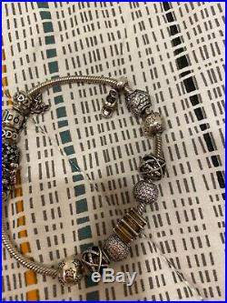 Pandora Silver bracelet with charms authentic used