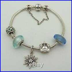 Pandora Sterling Silver Bracelet With 4 Disney Charms & Green Clover Bead