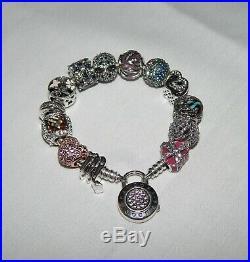 Pandora Sterling Silver Charm Bracelet with13 Pandora CZ Sterling Silver Charms