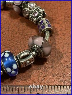 Pandora Sterling Silver Complete Full 8 Bracelet With 17 Charms Some Retired