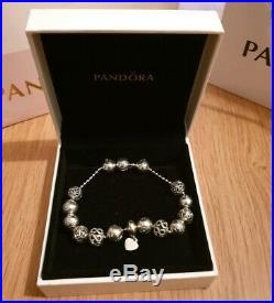 Pandora Sterling Silver Essence Beaded Bracelet with 13 Assorted Charms