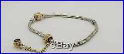 Pandora Two Tone 14K. 925 Sterling Silver Women's Charm Bracelet 8' safety chain