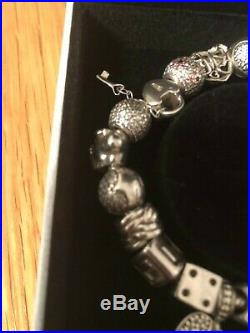 Pandora charm bracelet 19cm with 16 charms, 2 clasps and security chain, boxed