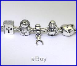 Pandora charms Chamilia bracelet sterling silver bible penguin wishbone boy 7.5