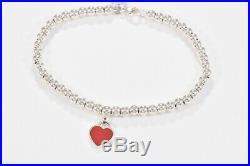 Please Return Tiffany & Co Silver Red Enamel Heart Charm Bead Bracelet 7.25