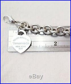 Please Return Tiffany & Co Sterling Silver Heart Rolo Chain Link Charm Bracelet