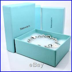 Please Return To Tiffany & Co. Silver Heart Charm Bangle 7.75 L Bracelet 1882A