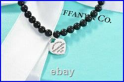 Please Return To Tiffany & Co Silver Heart Charm Black Onyx Bead Bracelet 7