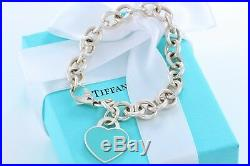 Please Return to Tiffany & Co. Silver Blue Enamel Heart Charm 7.5 Bracelet