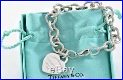 Please Return to Tiffany & Co Silver Blue Enamel Heart Charm 7.5 Bracelet RARE