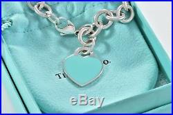 Please Return to Tiffany & Co Silver Blue Enamel Heart Charm 8 XL Bracelet RARE