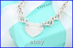 Please Return to Tiffany & Co Silver Center Heart Tag 7.85 Charm Bracelet Rare