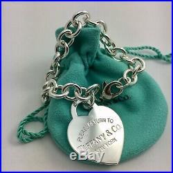 Please Return to Tiffany & Co Silver Extra Large Jumbo Heart Tag Charm Bracelet