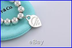 Please Return to Tiffany & Co. Silver Heart Charm 8mm Ball Beaded 7.5 Bracelet