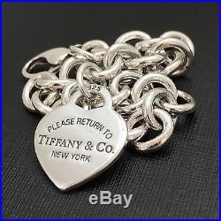 Please Return to Tiffany & Co Silver Heart Tag Charm Bracelet 8.25