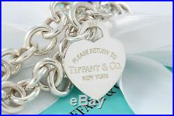 Please Return to Tiffany & Co. Sterling Silver Heart Charm 8.5 Bracelet