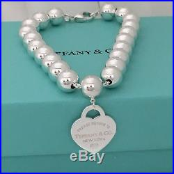 55fb2d60a Please Return to Tiffany & Co Sterling Silver Heart Charm 8mm Bead Ball  Bracelet