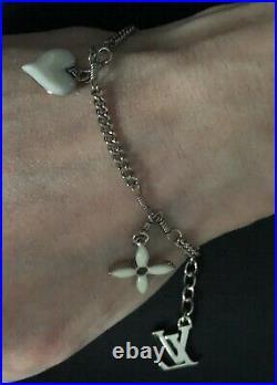 Preowned Louis Vuitton Sweet Monogram White Enamel Silver LV Logo Charm Bracelet