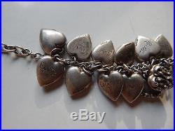 Puffy Heart Charm Bracelet Sterling Silver Enamel Unpolishd as Found Lampl