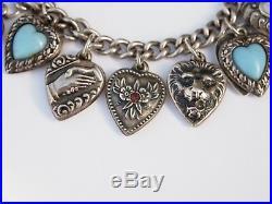 Puffy Heart Sterling Silver Charm Bracelet Vintage Enamel Hearts Dated 1930- 40s