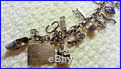 RARE 30-40's Vintage Sterling Silver Charm Bracelet & Charms, 7.25, Articulate