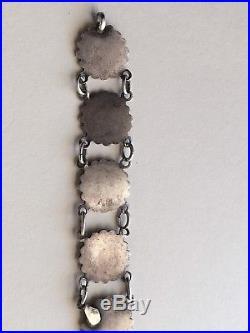 RARE Austrian ANTIQUE 1800'S Victorian SILVER ENAMEL LINK CHARM BRACELET
