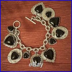 RARE Joan Slifka Sterling Silver & Black Onyx Joanie Charm Bracelet
