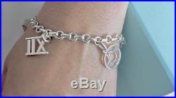RARE Tiffany & Co Silver Atlas Roman Numeral 5 Charms Bangle 7in Bracelet 18728A