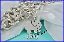 RARE Tiffany & Co. Silver Elephant NEVER FORGETS Charm 7.5 Bracelet BOXED