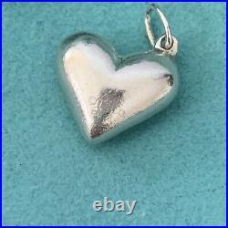 RARE Tiffany & Co. Silver Puffy 3D Etoile Pink Sapphire Heart Charm POUCH BOX