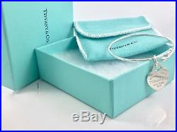 RARE Tiffany & Co Silver Return To Heart Charm Wire Bangle Bracelet 6.9in 18829A