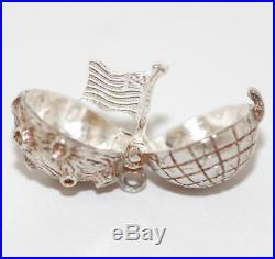 RARE Vintage Opening Moon Earth & Flag Sterling Silver Bracelet Charm Book Charm