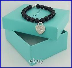 RETURN To TIFFANY & CO. Sterling Silver Heart Tag Onyx Beads Charm Bracelet 7