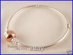 ROSE GOLD Plated SILVER Authentic PANDORA 2 TONE Charm/Beads Bracelet 7.1 18cm
