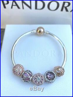RRP $634 Authenic Pandora Bracelet With Rose And Silver Charms