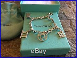 Rare 2003 Tiffany & Co Roman Numeral (5) Charms Silver Bracelet (100% Authentic)