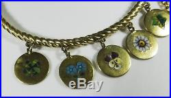 Rare Antique Charm Bracelet Silver Pansy Clover Ivy Forget-me-not Daisy B055