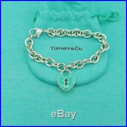 Rare Genuine Tiffany & Co Large Silver Blue Enamel Heart Charm Pendant Bracelet