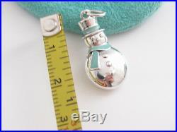 Rare New Tiffany & Co Snowman Silver Blue Enamel Charm For Necklace Bracelet