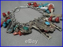 Rare Vintage Navajo Turquoise Coral Sterling Silver Charm Bracelet Old Native