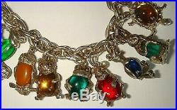 Rare Vintage Silver Glass'jelly Belly' Animal X 19 Charm Bracelet Nuvo Chim