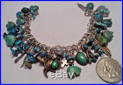 Reserved 4 L Vtg Navajo Native American Charm Bracelet Turquoise Sterling Silver