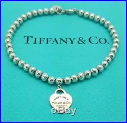 Return To Tiffany & Co Silver 4mm Bead Bracelet with Rubedo Heart Tag Charm 7.5