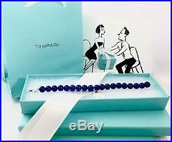 Return To Tiffany & Co Silver 8mm Lapis Lazuli Round Charm Bead Bracelet 6.75